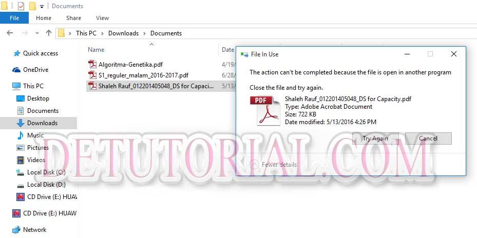 Cara Cepat Memperbaiki File in Use atau Tidak Bisa di Hapus