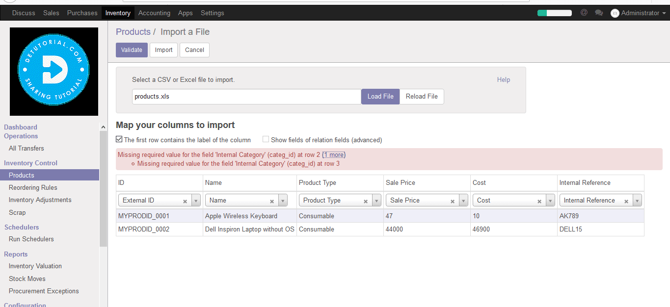 Fix Solusi Error Missing required value field Name Row 2 Odoo